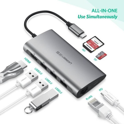 CÁP CHUYỂN USB TYPE C SANG 3*USB 3.0+HDMI+RJ45+SD&TF UGREEN Giá chỉ 1.606.500₫