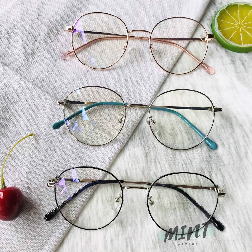 Mắt kính giả cận form tròn gọng kim loại dễ thương cho Teen 2020