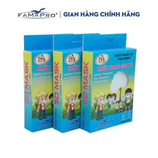 Combo 3 hộp khẩu trang y tế 3 lớp kháng khuẩn trẻ em Famapro 5D Baby trơn (10 cái hộp) thumbnail