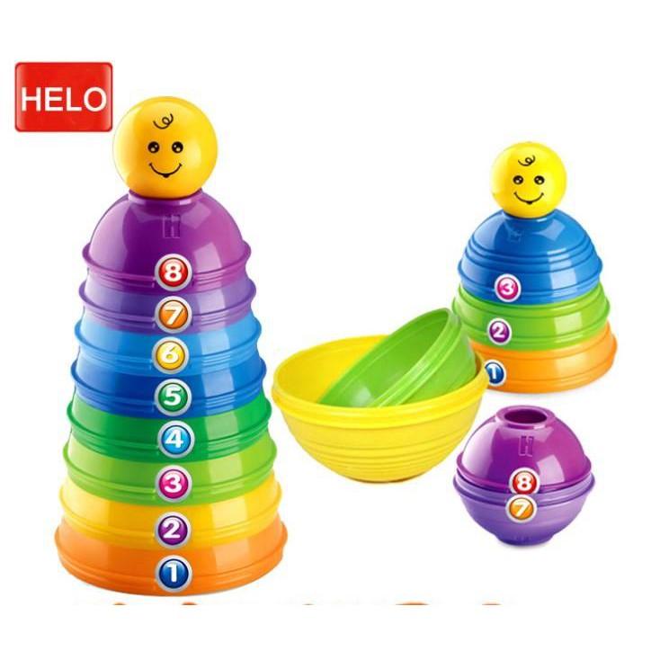 Đồ Chơi - Tháp cốc tròn giáo dục đầu đời rèn kỹ năng vận động và phát triển trí não (an toàn cho trẻ từ sơ sinh)