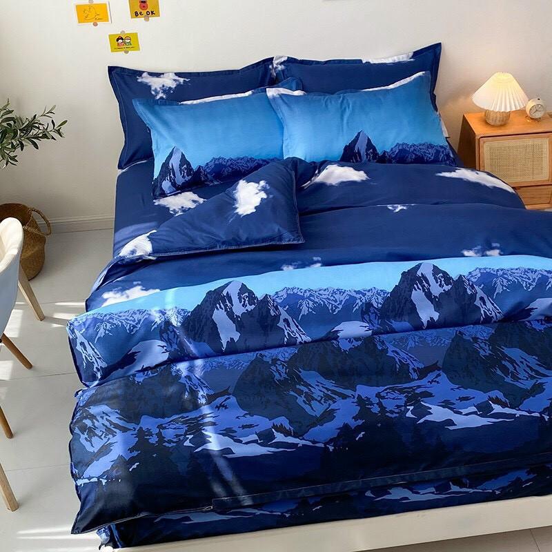 Bộ chăn ga gối , drap giường chất cotton poly họa tiết mây trắng nền xanh đậm