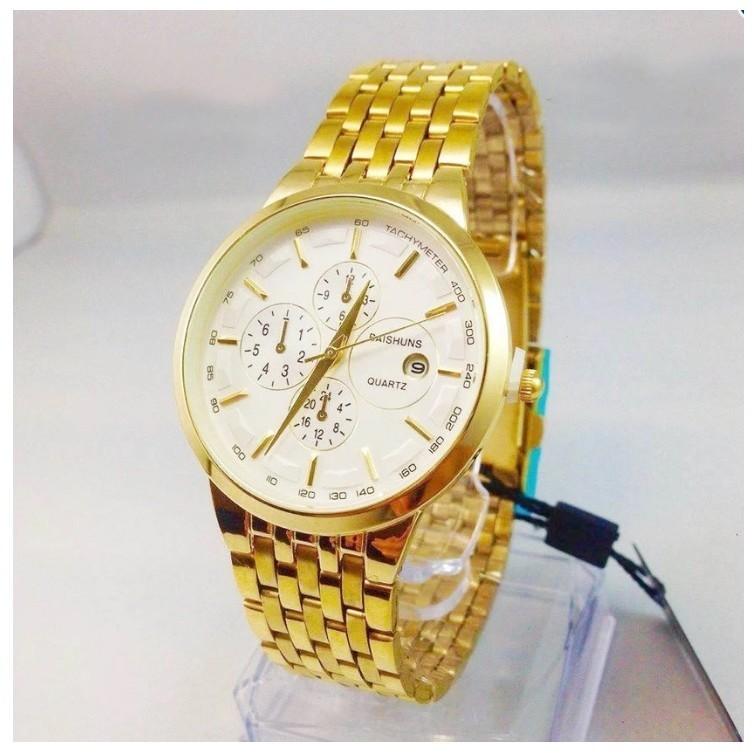 Đồng hồ nam nữ Baishuns vàng kim mặt trắng