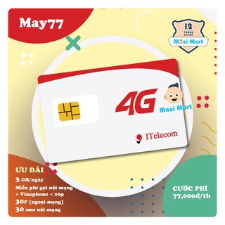 Sim 4G ITelecom gói cước May 77 – 90Gb/tháng – Miễn phí gọi nội mạng và Vinaphone