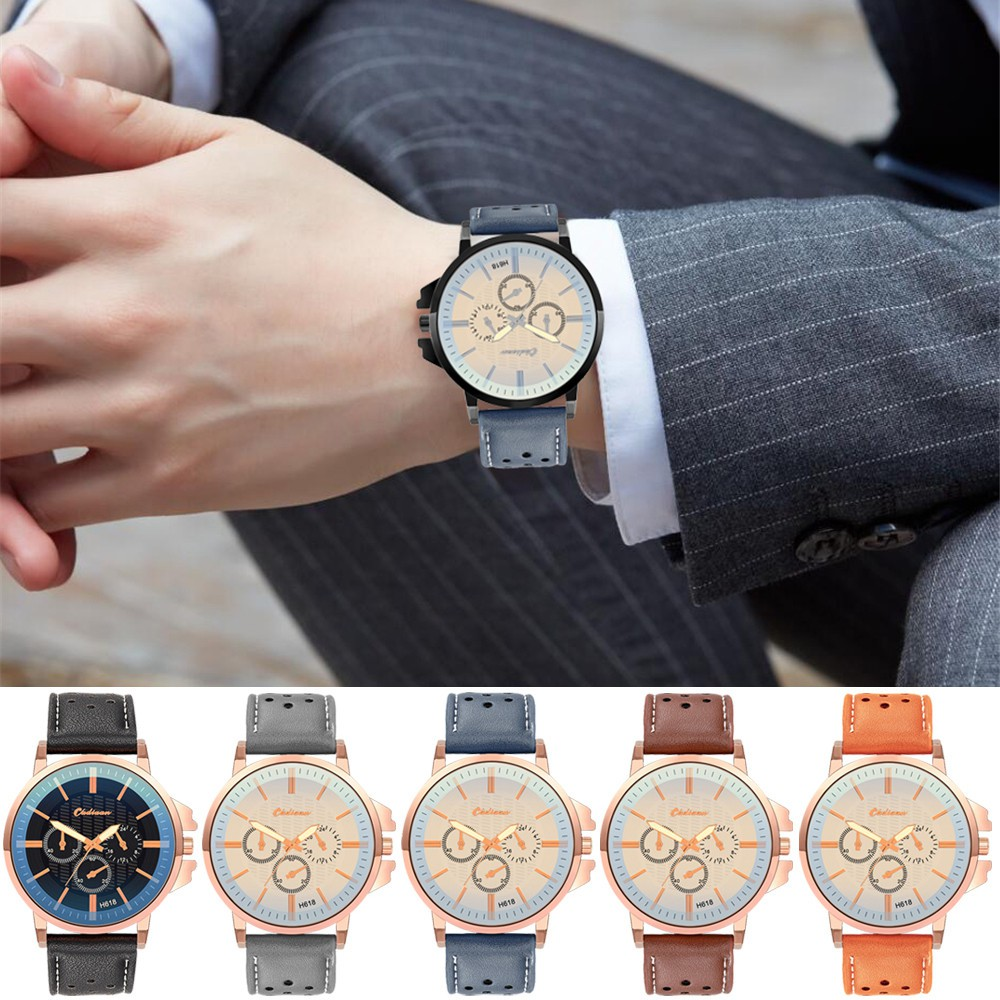 Aikefan Retro Design Leather Band Analog Alloy Quartz Wrist Watch