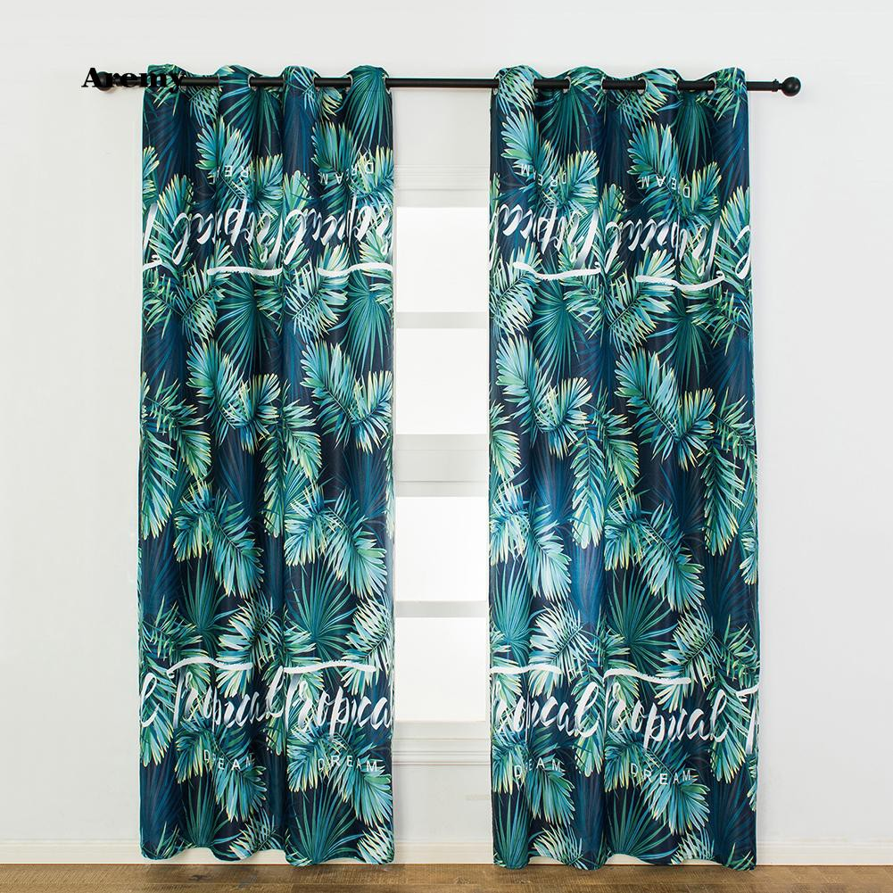 Rèm cửa sổ họa tiết lá độc đáo màu xanh 100cm x 250cm