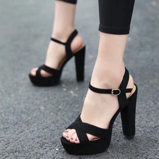 Giày cao gót 12 phân đế đúp bản chéo đen LT (DP004)