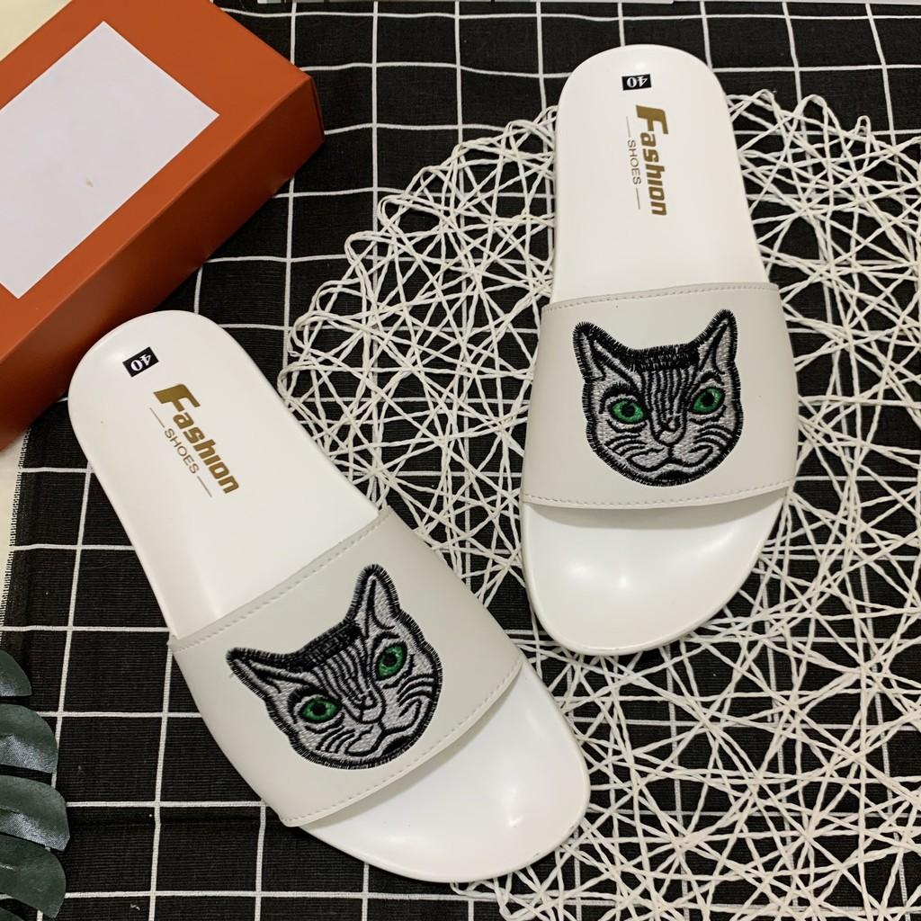 [FREESHIP+FULLBOX] Dép nam cao su xịn Thêu mặt mèo full trắng siêu chất