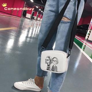Túi đeo chéo vuông nhỏ in họa tiết kiểu Hàn Quốc
