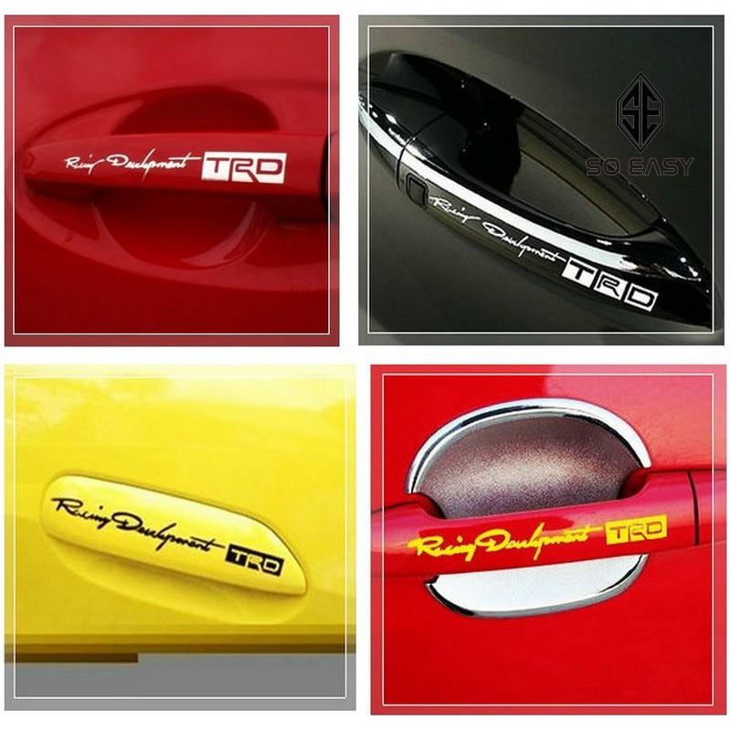 Trọn Bộ 4 tem,decal dán tay nắm cửa Racing TRD độ xe hơi phong cách thể thao cho xe hơi, xe ô tô_