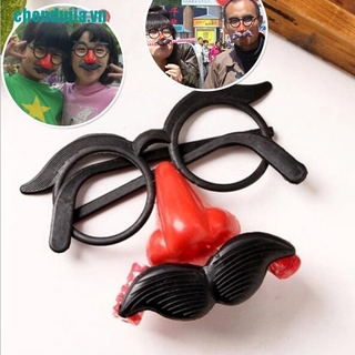 【chendujia】Funny Clown Glasses Costume Ball Round Frame Red Nose w/Whistle Mus