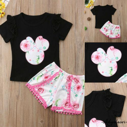 Jry₪Hot new 2pcs Toddler Kids Baby Girl Short Sleeve T-shirt Tops+Pants Outfits Clothes Sets