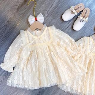 Váy ren 2 lớp mềm mịn cho bé gái - Váy xoè bé gái - Vay be gai