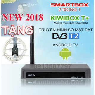 Android tivi box kết hợp T2 kiwibox T+ 2 trong 1 tặng anten dây 15m-kiwibox T+ tặng anten
