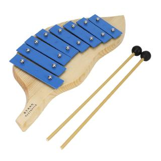 8 Notes Metal Xylophone Piano Leaf Shape Musical Percussion Instrument