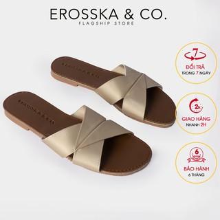 Dép đi biển thời trang Erosska 2021 siêu mềm êm chân màu đồng _ DE035