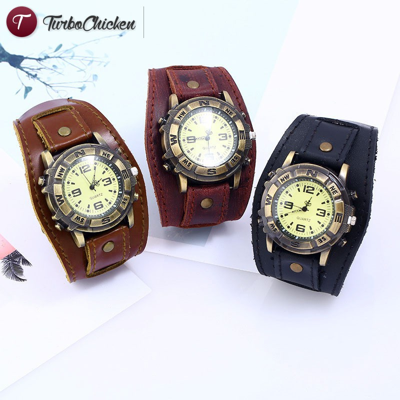 T⋄ Men Women Bracelet Watch Punk Vintage Cow Leahter Alloy Wristwatch Casual Watches Gift