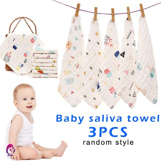 ♦♦ 3 Pcs Handkerchief Saliva Towel Printing Soft Cotton for Children Baby Feeding
