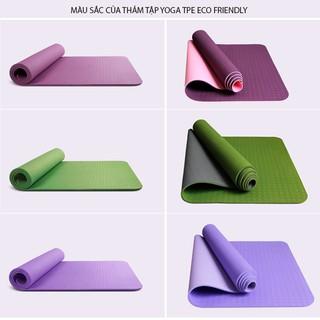 Thảm tập yoga tập gym thể dục PTE cao cấp êm nhẹ chống trơn trượt 2 lớp 6mm