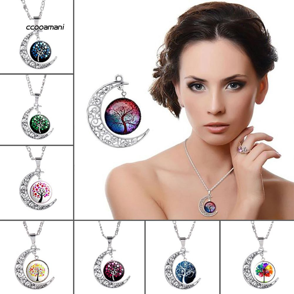XL-Women Moon Tree of Life Faux Gemstone Necklace Decoration Pendant Jewelry Gifts