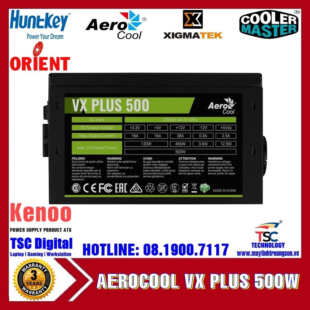 Nguồn Máy Tính Aerocool VX PLUS 500 500W 230V N-PFC Có TTBH Tại Hà Nội & TPHCM | Đẳng Cấp Gaming