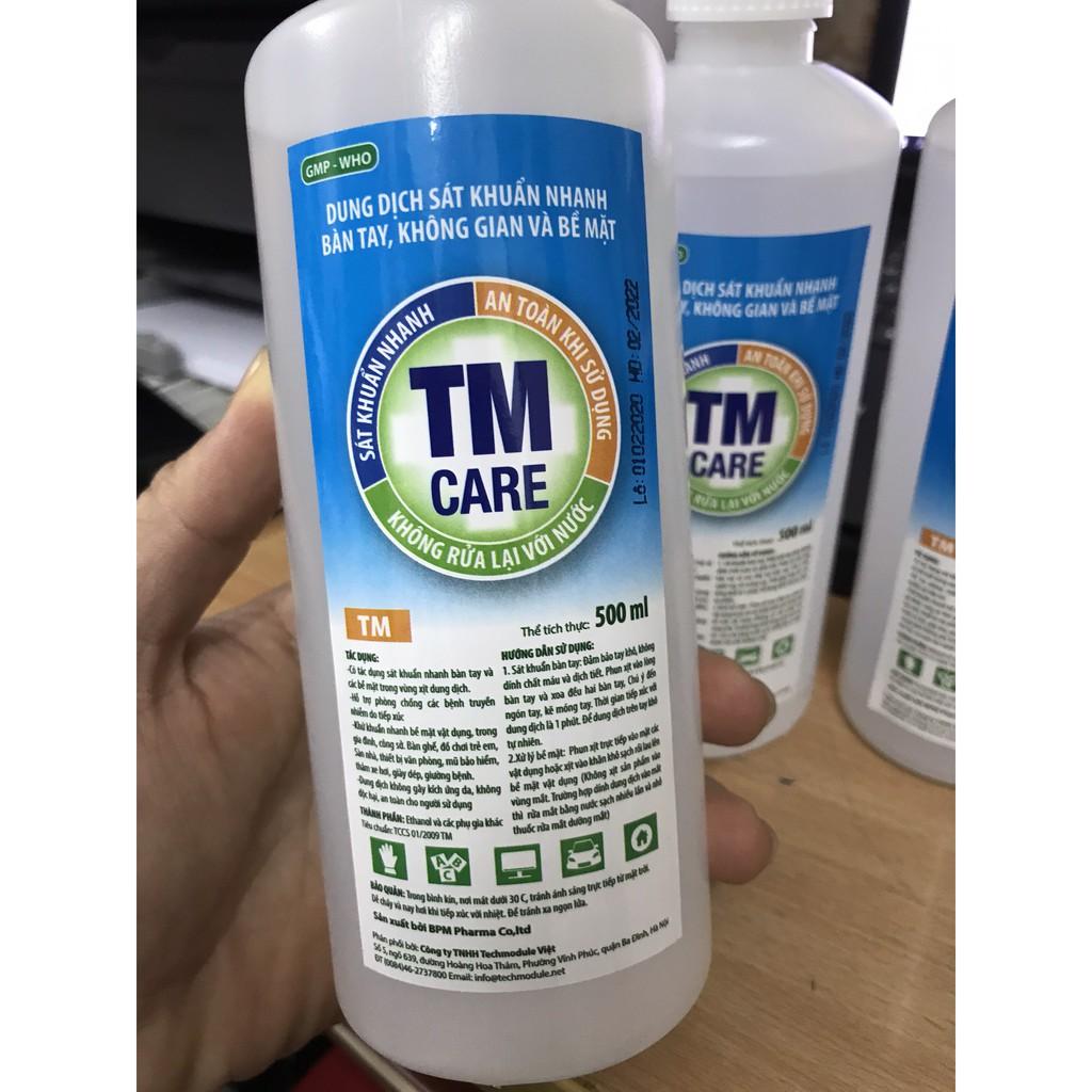 Dung dịch rửa tay khô sát khuẩn TM CARE chai xịt 500ml