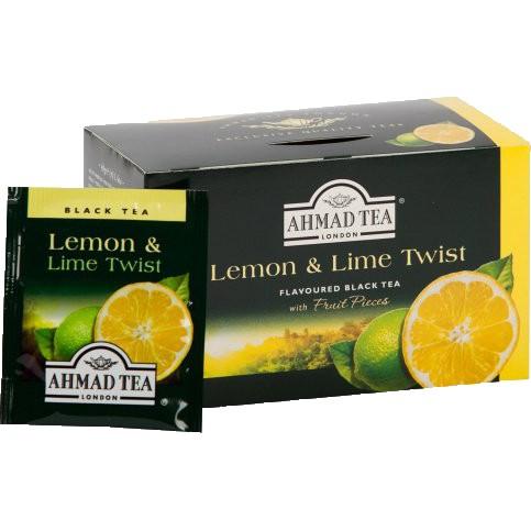 Trà Ahmad vị Chanh vàng Chanh xanh (Lemon and Lime Twitst) (Hộp giấy 40gram - 20 túi lọc có bao thiếc)