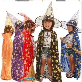 combo áo choàng và mũ haloween cho bé