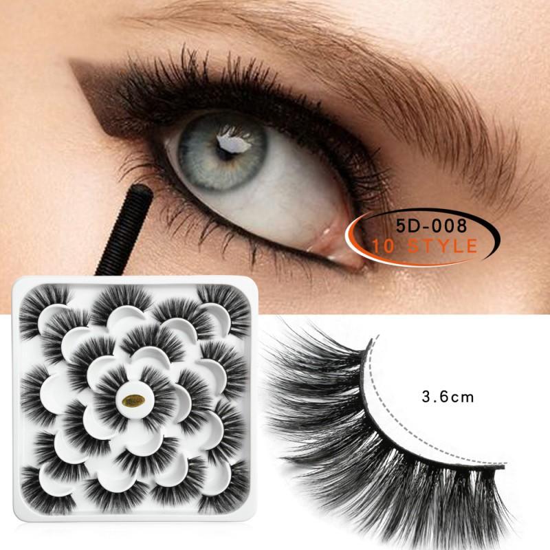 Maange 10 Pairs of 5D Natural Mink False Eyelashes