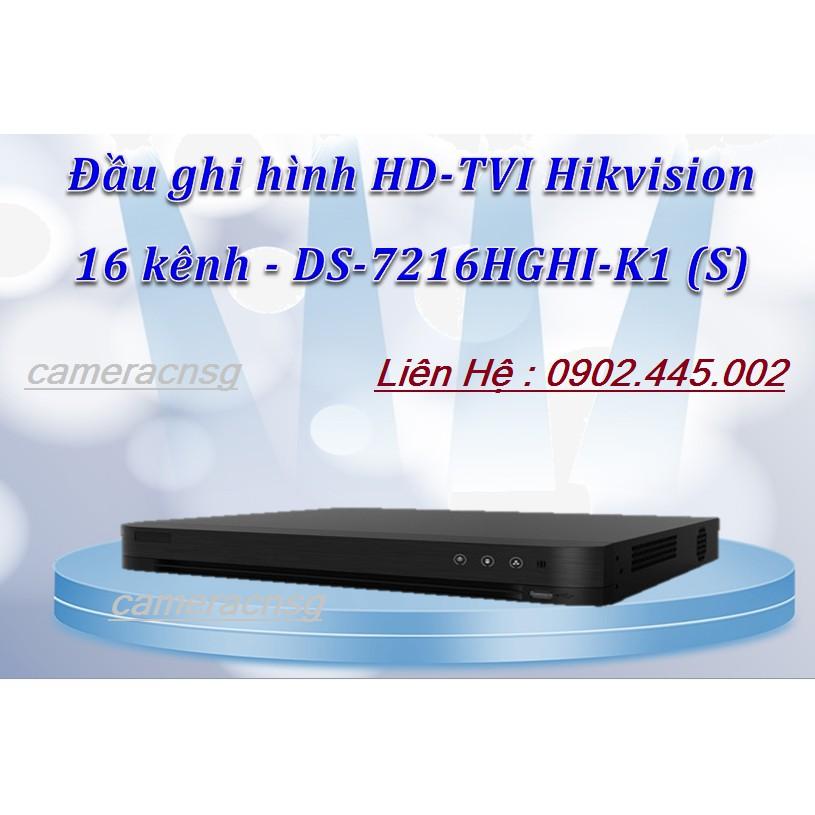 Đầu ghi hình 16 kênh 1080P chuẩn hệ h.265 Pro+ hỗ trợ 2 Camera Ip DS-7216HGHI-K1 (S) HIKVISION