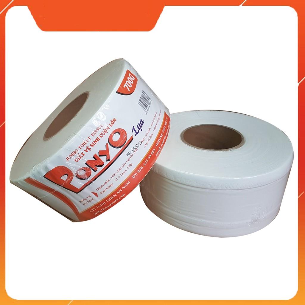 Giấy vệ sinh cuộn lớn 700g PONYO LỤA - chất lượng cao cấp, bột giấy nguyên chất