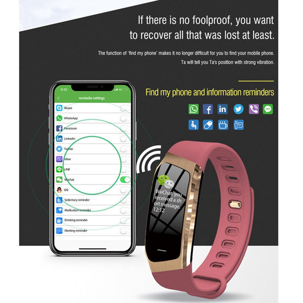 E18 0.96 Inch Sleep Monitoring IP68 Waterproof Blood Pressure Heart Rate Alarm Remote Photography Smart Bracelet