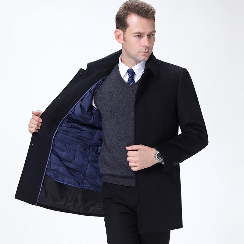 แบรนด์ลงซับขนเสื้อทำด้วยผ้าขนสัตว์ฤดูหนาวผู้ชายเสื้อโค้ทผ้าขนสัตว์ชนิดหนึ่งยาววัยกลางคนเสื้อขนสัตว์