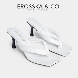 Dép cao gót Erosska thời trang mũi vuông kiểu dáng xỏ ngón cao 5cm màu trắng - EM057