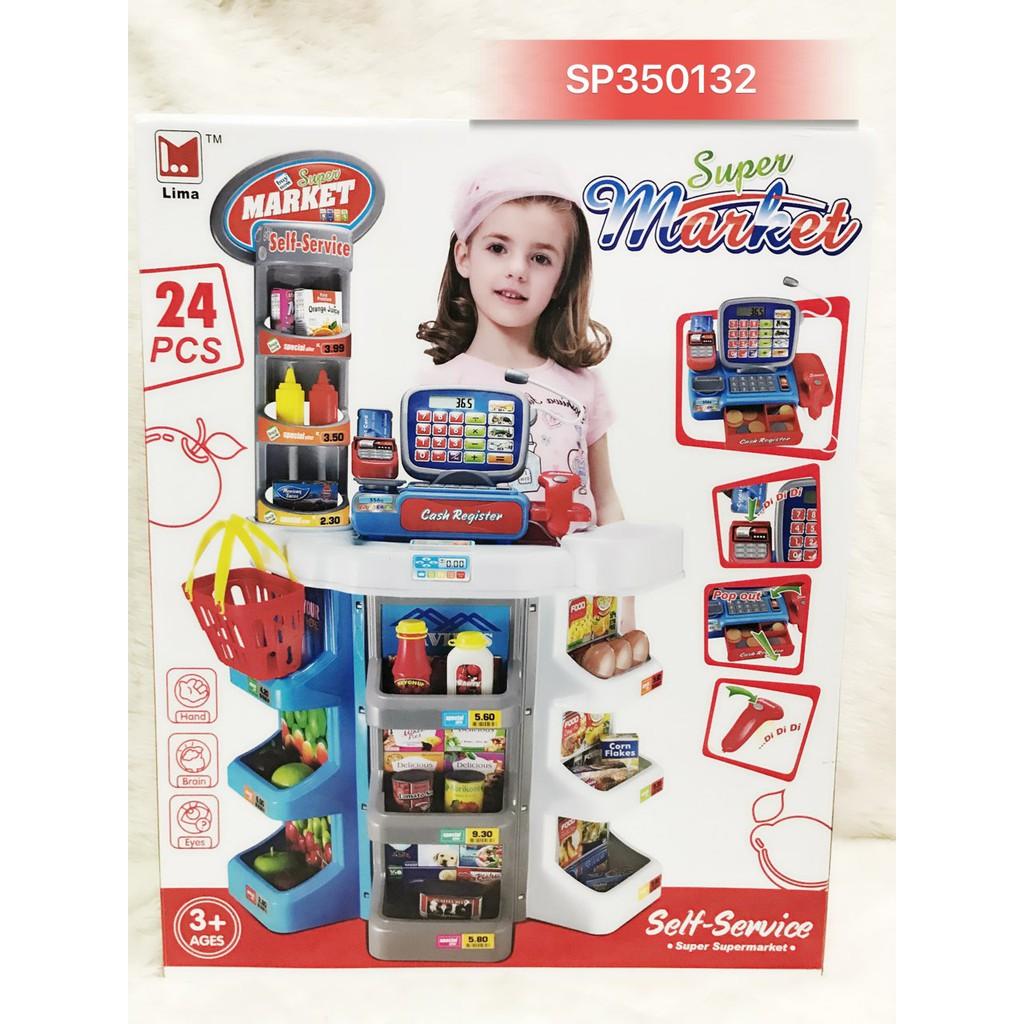 Quầy tính tiền siêu thị pin, máy quét, giỏ xách 24 món 2393 – SP350132