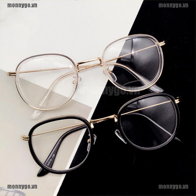 [COD+monnygo]Fashion Transparent Retro Round Frame Eyeglasses Unisex Glasse