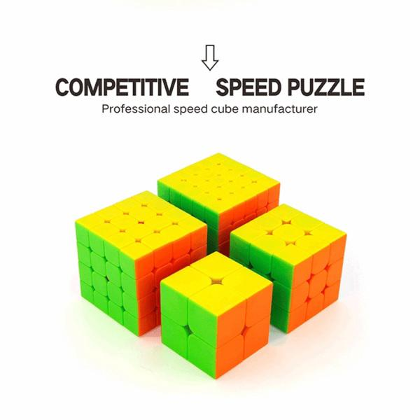 4Pcs Speed Cube Brain Teaser Gift Box Set 2×2 3×3 4×4 5×5 Stickerless Puzzle Magic Cube