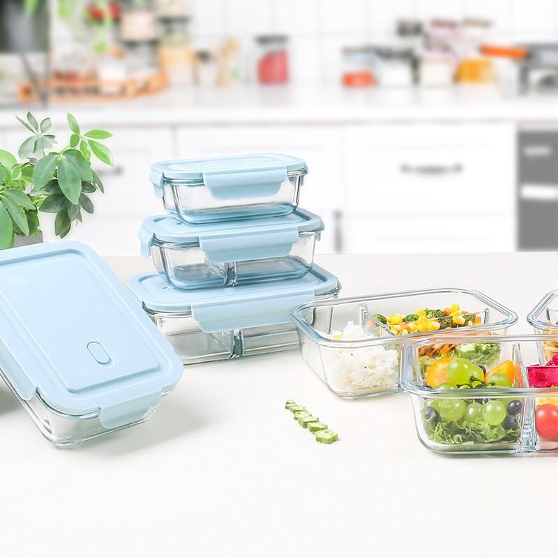 Bộ hộp đựng cơm thủy tinh cao cấp Glass Food, 2 Hộp cơm thủy tinh văn phòng + Kèm túi giữ nhiệt đựng đồ ăn - missfly