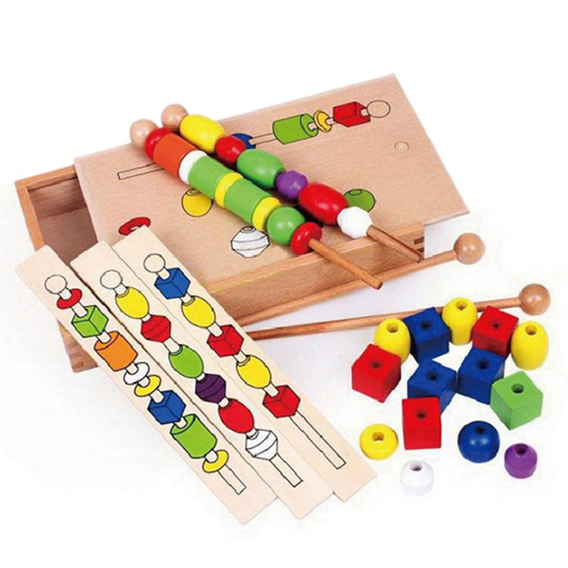 Early education puzzle fine training wooden stick wearing beaded toy