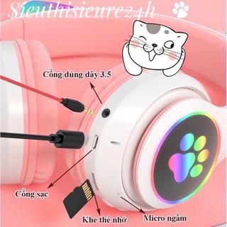 Tai Nghe Mèo Bluetooth 5.0 ❤️FREESHIP❤️ Tai Nghe Không Dây Có Mic, Âm Bass Mạnh Mẽ Và Dung Lượng Pin Khủng 400mAh