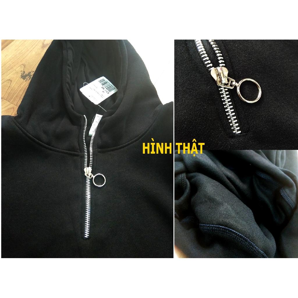 Áo Hoddie khóa kéo trơn unisex, nỉ bông 2 lớp dày dặn, thời trang-GV003