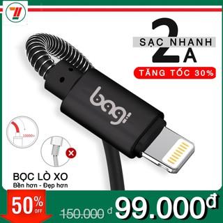 Cáp sạc nhanh iPhone bọc dù lò xo chống đứt gãy thương hiệu Bagi CB-IF10 ( Đen Vàng) thumbnail