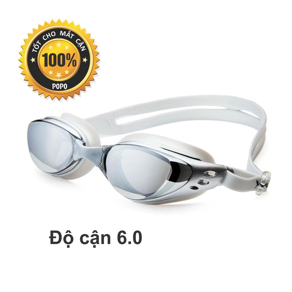 Kính bơi cận 6,0 độ thế hệ mới 610 Bạc kiểu dáng thời trang nhỏ gọn, chống UV, chống sương mờ POPO C