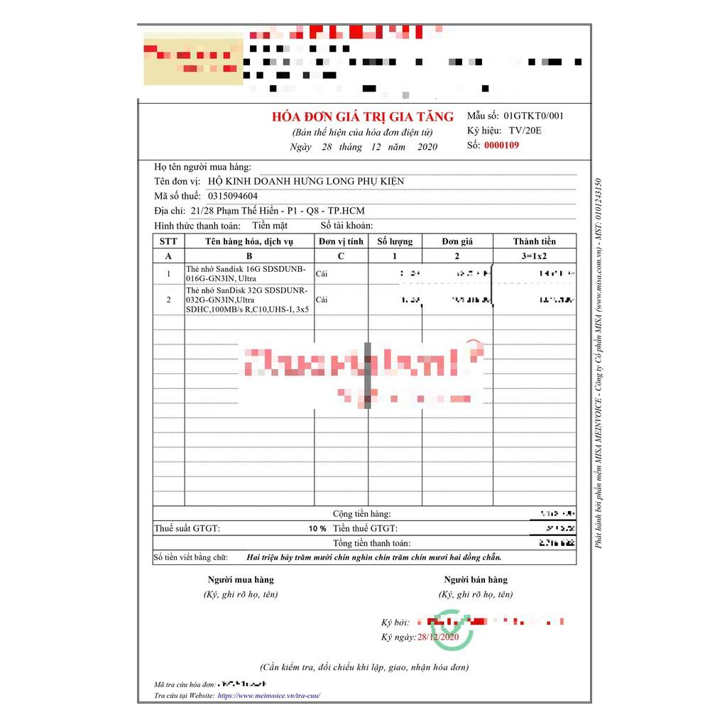 [Bh 2 Năm] Thẻ Nhớ SDHC 32Gb Sandisk Ultra Class 10 Uhs-I 100Mb/s Chính Hãng