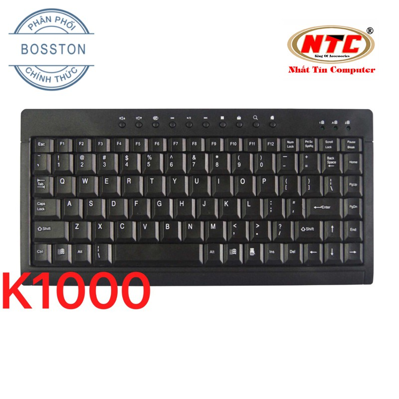 Bàn phím mini có dây Bosston K1000 - Hỗ trợ 10 phím multimedia (Đen) Hãng Phân Phối Chính Thức