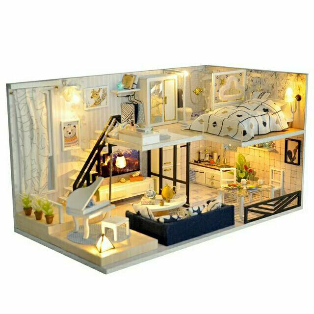 Kèm mica – Mô hình nhà gỗ búp bê dollhouse DIY – TD32 Light Shadow Of Time