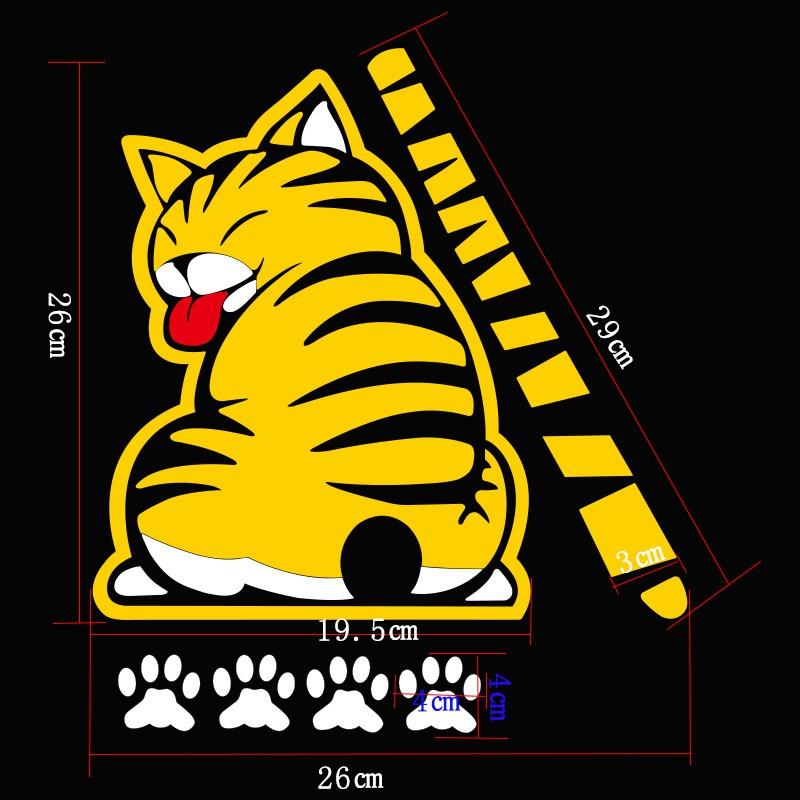 Decal Dán Ô Tô Hình Con Mèo Vẫy Đuôi Gắn Cần Gạt Nước Sau Xe