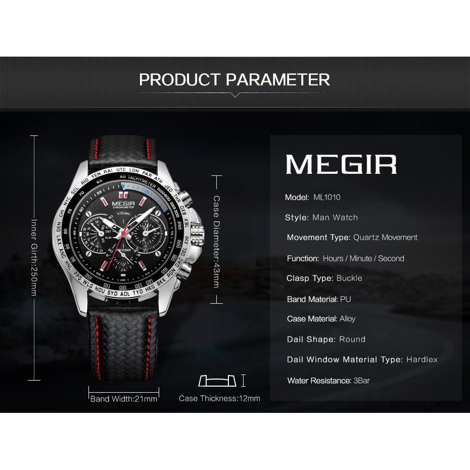 Đồng hồ đeo tay dây da thể thao dành cho nam MEGIR