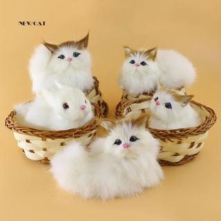 Mèo/thỏ nhồi bông nằm trong rổ mô hình mini dễ thương làm quà tặng