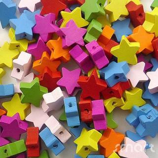 100 hạt gỗ hình ngôi sao đầy màu sắc
