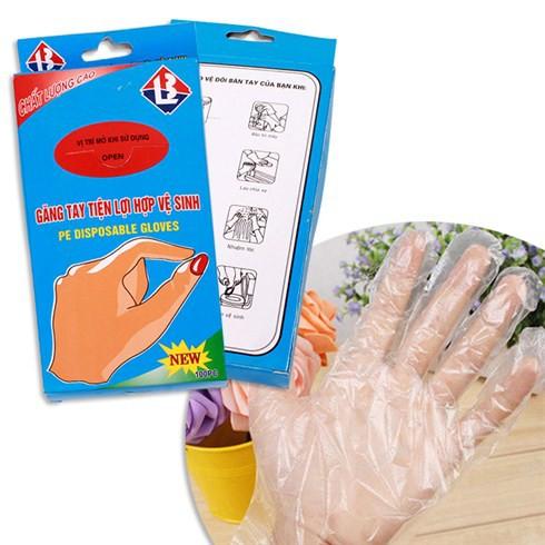 Găng tay nilong dùng 1 lần bộ 100 cái